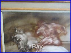 Très belle huile sur toile cavalier sur cheval fougueux claude WEISBUCH