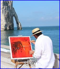 VOILIERS Tableau peinture huile sur toile au couteau du peintre KLEINER art