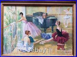 V. SHEVCHUK Ecole russe XX-XIX ème Ballerines au repos Huile sur Toile datée