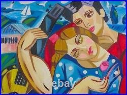 Veksler / Peintre Russe / Oeuvre Originale & Signee / Dans Ces Bras