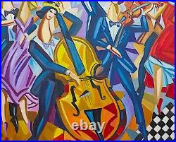 Veksler / Peintre Russe / Oeuvre Originale & Signee / The Yellow Double-bass