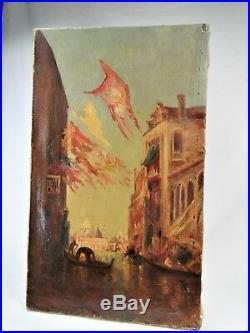 Venise Beau Paysage 1900 Huile / Toile Esprit Ziem Monogramme Peinture Tableau