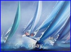 Victor Spahn Tableau Marine La Régate Peinture Originale Hst 8f Certificat ++