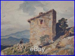 Vidal Gustave (1895 1966) Berger et son troupeau Huile sur toile v2