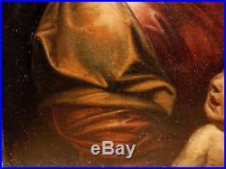 Vierge à l'Enfant Superbe HST XVIIIe Italie Peinture Ancienne Old Painting