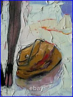 Visiting- huile sur toile, 30x60cm original, signè Lidia Tchoumakova