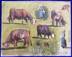 WISLIN Charles Huile s/ Toile Étude Nemours Vache Peinture XIXème Eugène Boudin