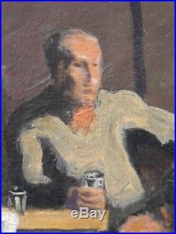Wilhelm Gimmi (1886-1965) 3 hommes au café 1927 huile sur toile v32