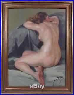 Yves DIEY (1892-1984) huile sur toile Le modèle femme nue de dos nude painting