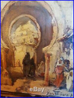 Yvonne Thivet (1888 -1972) peinture huile Orientaliste Arabes près du porche